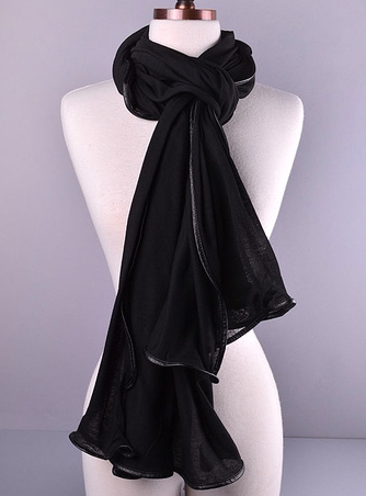 Faux Leather Trim Scarf - Black