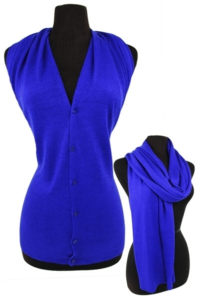 Multifaceted Scarf, Cardigan, Poncho, Vest - Royal Blue