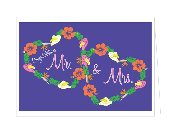 Mr. & Mrs. - Hawaiian Flower Hearts